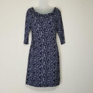 Small Loft navy print midi dress